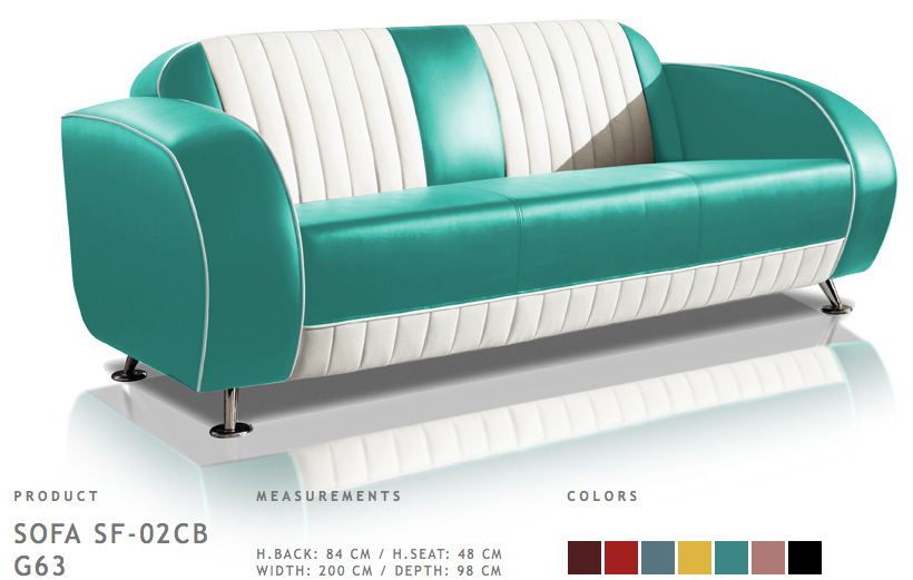 Belair Retro Sofa Sf 02cb G63 Turquoise
