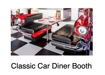 classic car diner booth combination for restaurant or private home, made of original classic cars,