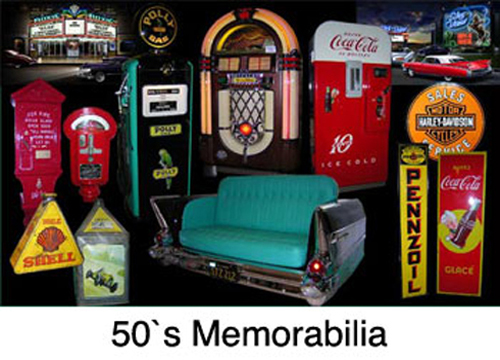 fifties memorabilia, old gas pumps, old coke machine, coca cola vending machine, old parking meters, fire alarm box, neon signs, porcelain signs, metal signs, tin advertising signs, car couches, sweet sofas, retro car sofa, classic car desk, old oil tins, old oil cans, old eco airmeters, gasoline globe, gasoline pump lamp, die cast model cars, coke memorabilia, coca cola bottle opener, open-closed sign, pepsi cola vending machine, coke cola ice chest, coke ice cooler, street signs,