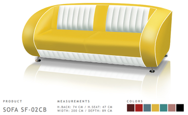 BelAir Retro Sofa SF-02CB Yellow