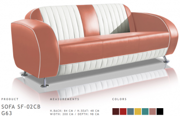 BelAir Retro Sofa SF-02CB G63 Dusty Rose