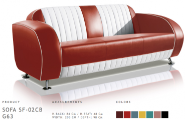 BelAir Retro Sofa SF-02CB G63 Ruby